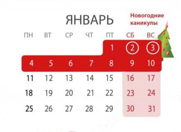 Начало выходных дней на новый год